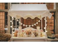HAND MADE TRADITIONAL WHITE CANDY CART, POST BOX & HEART SHAPED FERERROR ROCHER STAND FOR HIRE