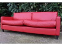HABITAT Chester red leather 3 seater sofa