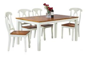 Boswell Five Piece Dining Set In Oak And White