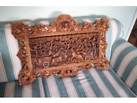 wooden detailed wall carving from bali