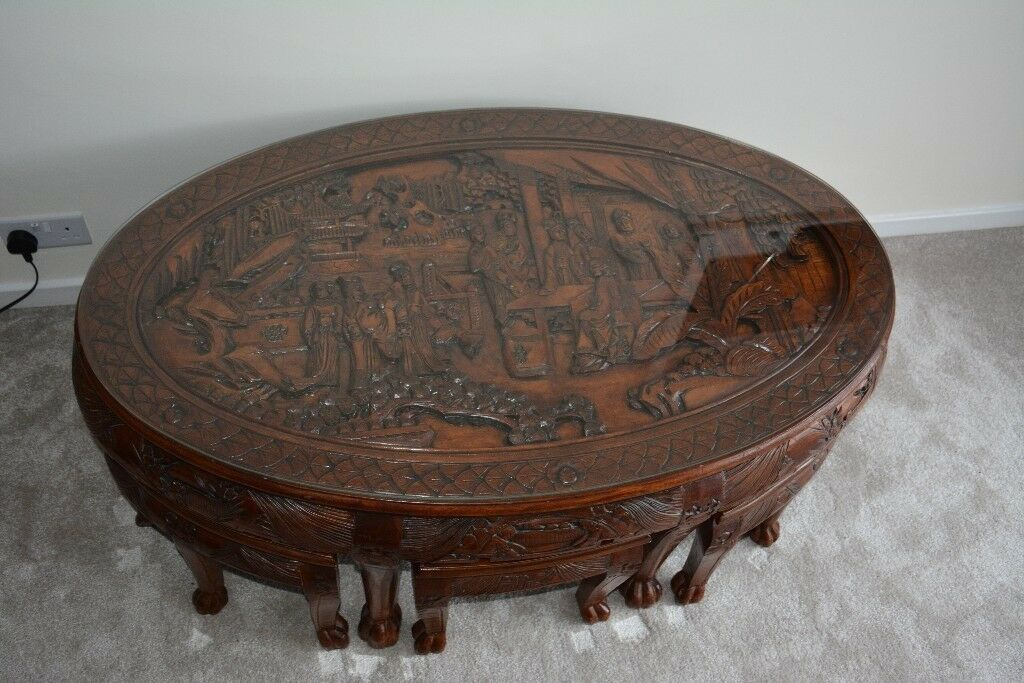 Oriental Chinese Hand Carved Oval Coffee Table With Gl Top And 6 Stools In Sheffield South Yorkshire Gumtree
