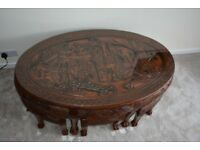 Oriental 'Chinese' Hand Carved Oval Coffee Table with Glass Top and 6 Stools
