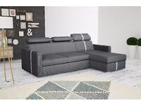 Delivery 1-10 days AVOLA Italian Corner Sofa Bed Sofa Leather Brand New Bed Function