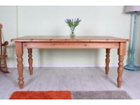 UK WIDE DELIVERY - 5 1/2 ft SOLID PINE FARMHOUSE KITCHEN TABLE WAXED STURDY