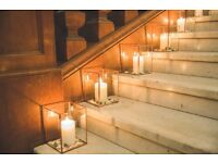 Lovely glass/copper candle holders x 12. *wedding decoration*