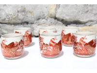 Unusual set of 6 Handpainted Japanese Sake Cups Red Bird and Gilded Signed Oriental