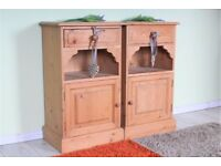 DELIVERY OPTIONS - 2 X TALL BEDSIDE TABLES SOLID PINE SHELF DRAWER CUPBOARD