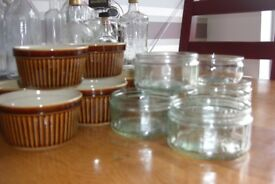 A selection of 14 small pottery and glass ramekins dishes.