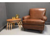 Lovely Brown Leather Club Armchair Arm chair..price INCLUDES delivery throughout London