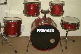"""Premier XPK Rosewood Lacquered 5 Piece Drum Kit (22"""" Bass"""") - Made In England - DRUMS ONLY"""