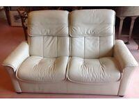 Ekornes Stressless 2 Seater High Back Recliner Sofa in cream leather