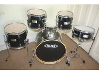 Mapex V Black 5 Piece Full Drum Kit (18in Bass) with all stands and Sabian Solar Cymbal Set
