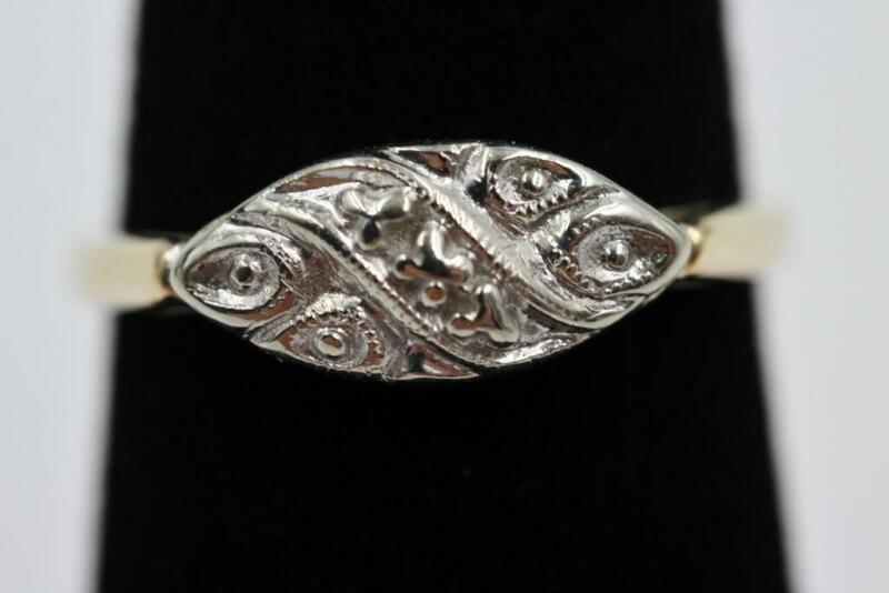 VINTAGE ESTATE 10K SOLID YELLOW & WHITE GOLD FANCY DESIGN SIZE 6.25 RING