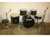 Yamaha Stage Custom Advantage Nouveau Black 5 Piece Full Drum Kit (22in Bass) + All Stands + Cymbals