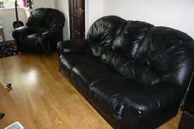 Luxurious Soft Highest Quality Black Leather Three Piece Suite