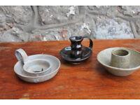 3 Handmade Studio Pottery Candle Holders Art Pottery Tealight Holder Unusual Home Decor Candlestick