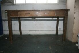 vintage school desk solid timber with canvas tacked top 135x76x76cm
