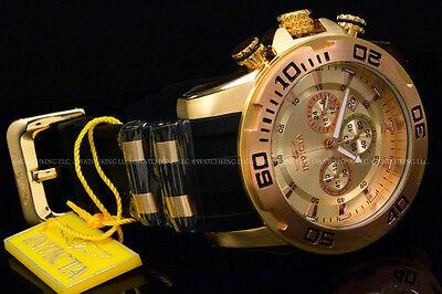 Invicta 50MM Scuba Pro Diver 18K Gold Plated Chrono Rose Gold Bezel Strap Watch