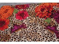 Echo Square Silk Scarf with Leopard and Flower Patterns