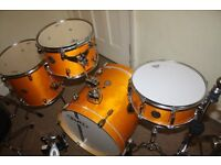 """Mapex Horizon """"Rattan Yellow"""" Lacquered Wood 4 Piece Birch Club Classic 18 Jazz Drum Kit DRUMS ONLY"""
