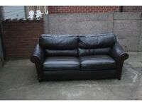 Brown Two Seater Leather Sofa