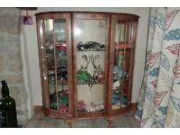old oak veneer glass cabinet