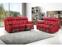 FLORENCE 3 AND 2 SEATER LEATHER RECLINER SOFA - BRAND NEW