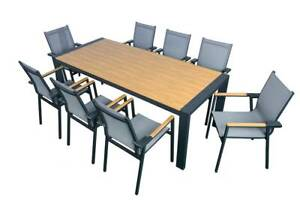 9 PIECE POLYWOOD DINING SETTING IN CHARCOAL NOW $1,495