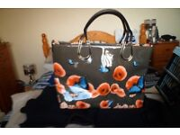 PATENT HANDBAG - DARK BROWN BACK GROUND, ORANGE POPPIES AND BLUE BUTTERFLIES - N EW