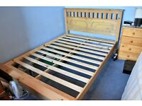 Solid Pine, slatted, double bed.