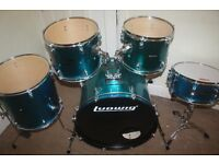 Ludwig Accent Blue Sparkle 5 Piece Full Drum Kit with Sabian Solar Hi Hat and Cymbal Set