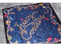 Juicy Couture Royal Blue Patterned Silk Square Scarf