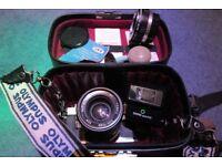 Olympus OM-10 35mm SLR Film Camera w/ Lens, Case, Flash & 2X Telephoto Lens Adapter