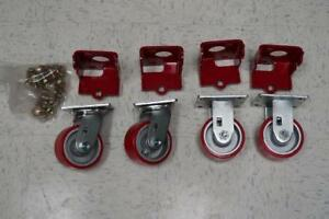 "6"" Caster Wheels Set (2 Rigid x 2 Swivel)"