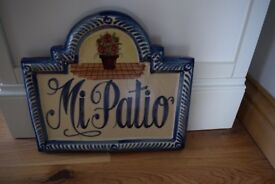 Mi Patio Ceramic Garden Sign/ Plaque