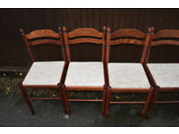 set of 6 wooden dining chairs padded bases good condition