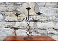 Large Ornate 3 Arm Metal Candelabra Gothic Candle Holder 41cm High Candlestick