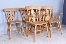 DELIVERY OPTIONS - SET OF 6 BEECH FIDDLE BACK FARMHOUSE CHAIRS INCL 2 CARVERS