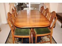 Bevan Furnell Reprodux type Yew Dining Table with Six Chairs