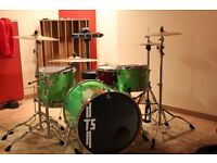 Custom drums GREEN SPARKLE WITH SILVER STARS MUST SEE!