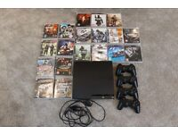 PS3 Console, 4 controllers and PS3 games