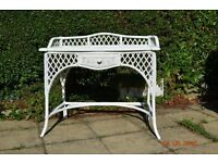 Superb White Rattan and Bamboo Desk