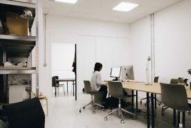 Desk space in creative studio