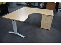Beech plywood desks with lockable drawers & metal legs