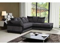 SAME DAY DELIVERY--DINO JUMBO CORD FABRIC CORNER SOFA SUITE - 3 and 2 SEATER