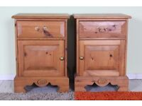 2 X SOLID PINE BEDSIDE CABINETS WAXED WITH DRAWER & CUPBOARD - CAN COURIER