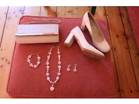 'Wedding outfit for women - Dress, Coat, Shoes, Bag, Jewellery accessories