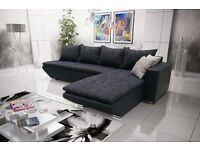 "Corner sofa bed sofa bed UK STOCK 1-5 DAY DELIVERY""Lucca"" Black"