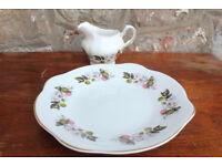 Vintage Royal Tara Sandwich Plate & Milk Jug / Creamer Irish Cake Plate Design + Gilded Ireland