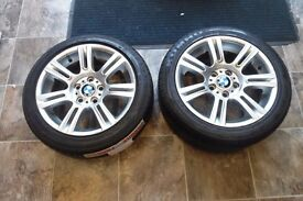 "18"" ORIGINAL BMW ALLOY WHEELS AND TYRES 2 WHEELS MAKE AN OFFER"